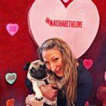 dog owner hugging her doggie valentine